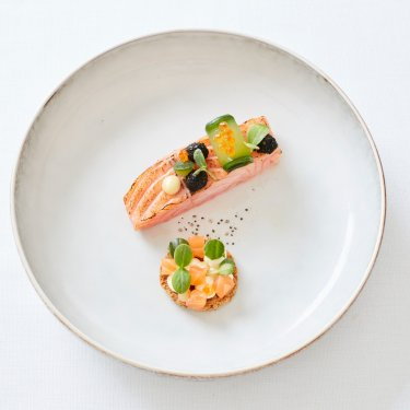 Salmon, cucumber, lemon and dill