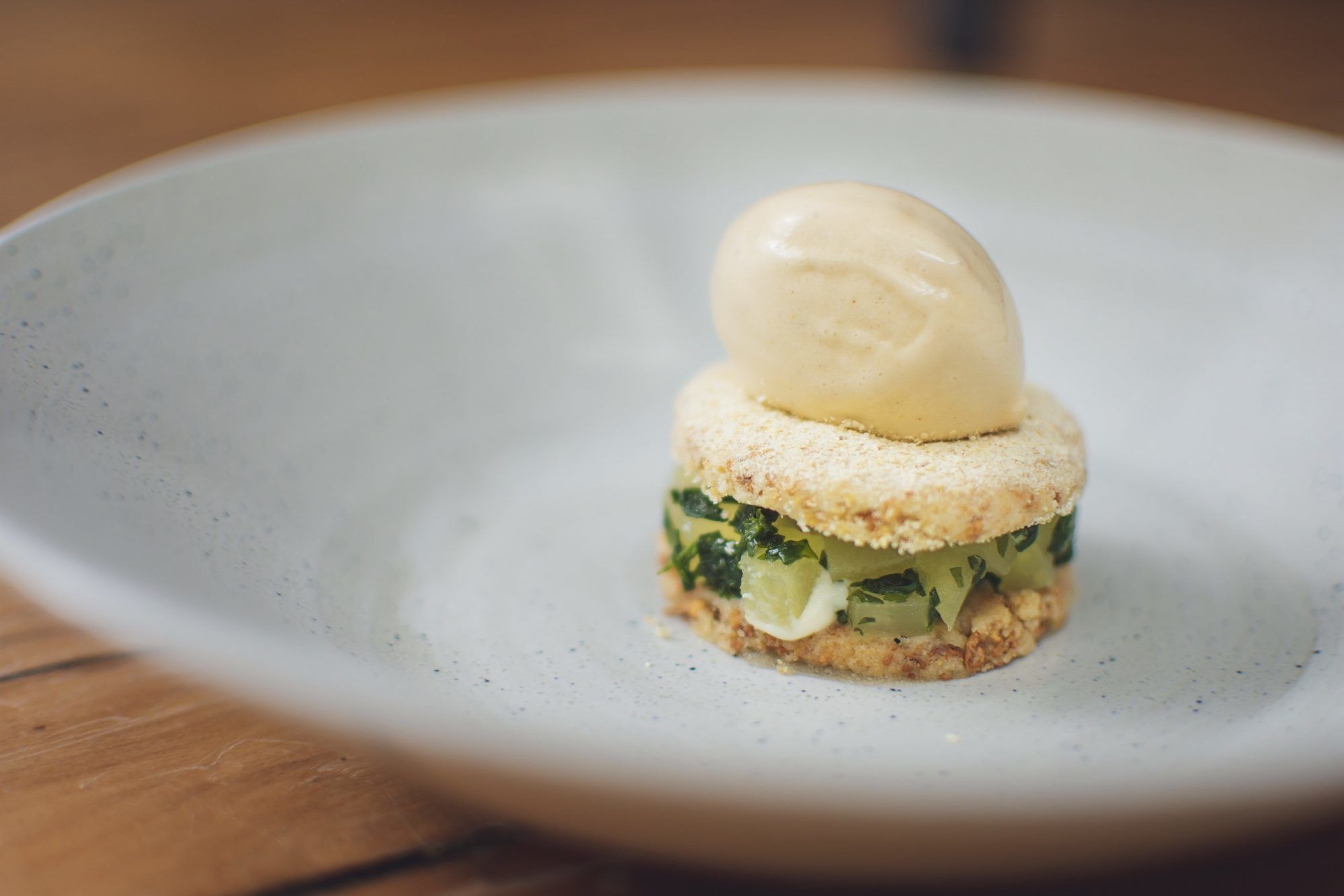 Celeriac shortbread, apple & elderflower chutney, celeriac ice cream