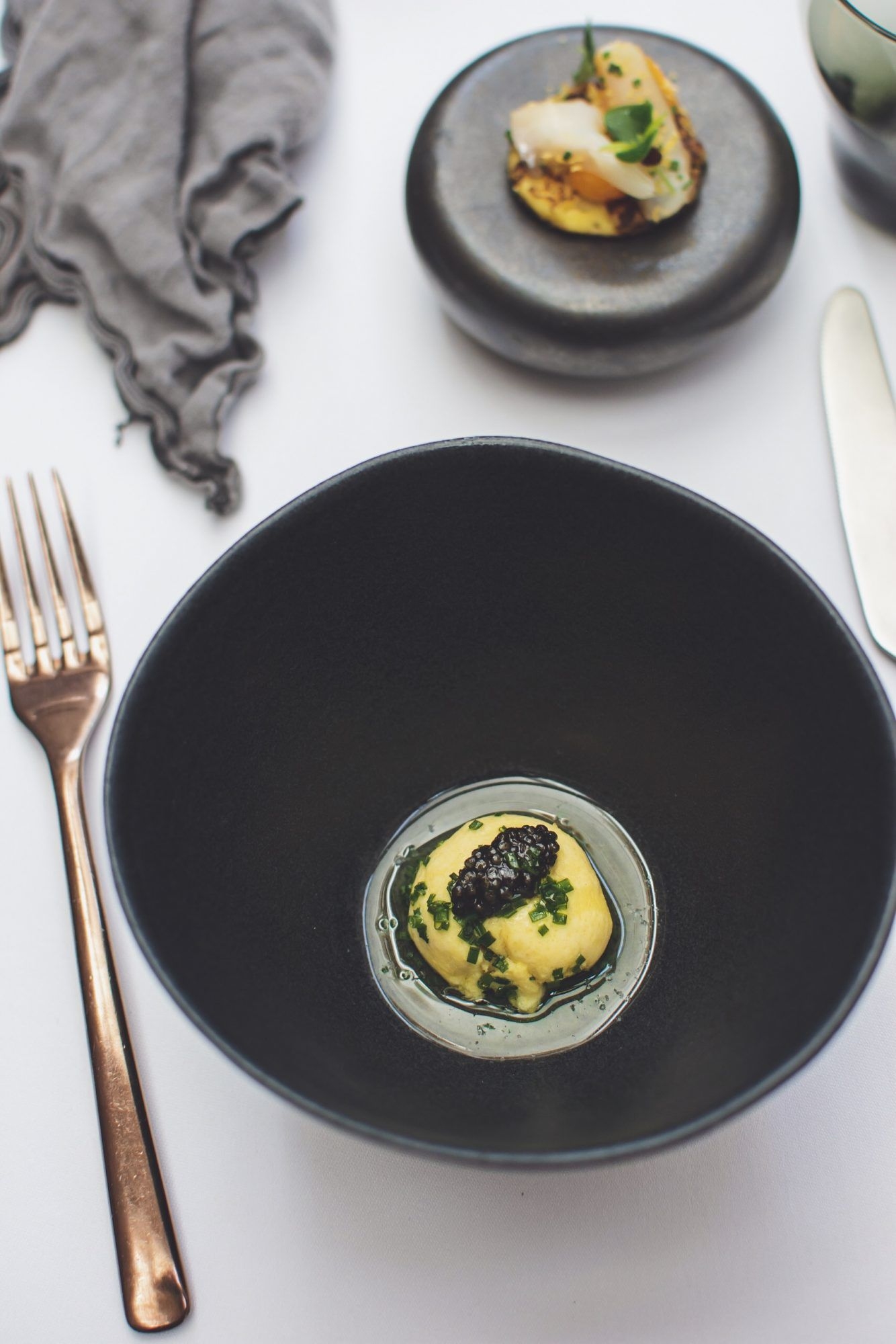 Omelette Arnold Bennet, chive oil, caviar